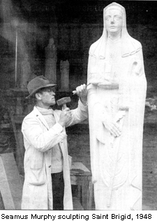 Seamus Murphy sculpting Saint Brigid, 1948